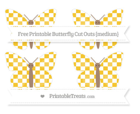 Free Saffron Yellow Checker Pattern Medium Butterfly Cut Outs