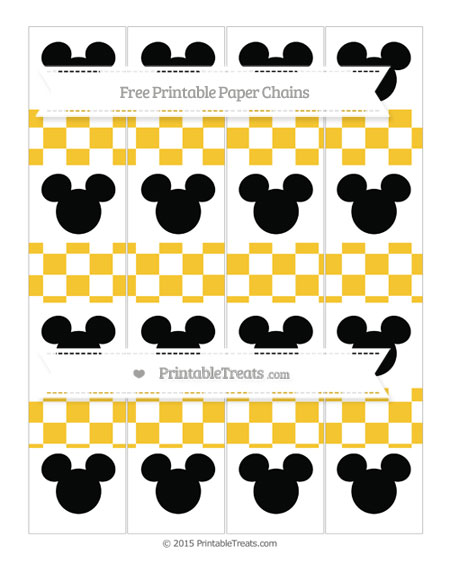 Free Saffron Yellow Checker Pattern Mickey Mouse Paper Chains