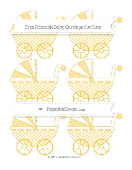 Free Saffron Yellow Checker Pattern Small Baby Carriage Cut Outs