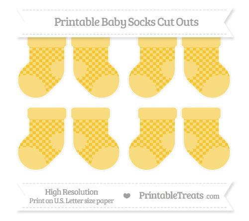 Free Saffron Yellow Checker Pattern Small Baby Socks Cut Outs
