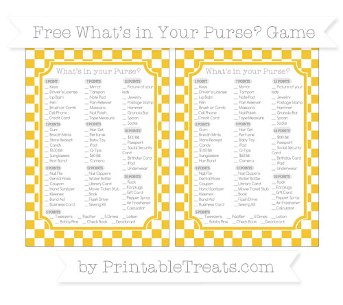 Free Saffron Yellow Checker Pattern What's in Your Purse Baby Shower Game