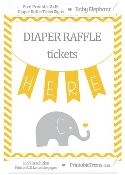 Free Saffron Yellow Chevron Baby Elephant 8x10 Diaper Raffle Ticket Sign