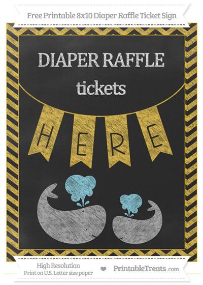 Free Saffron Yellow Chevron Chalk Style Baby Whale 8x10 Diaper Raffle Ticket Sign