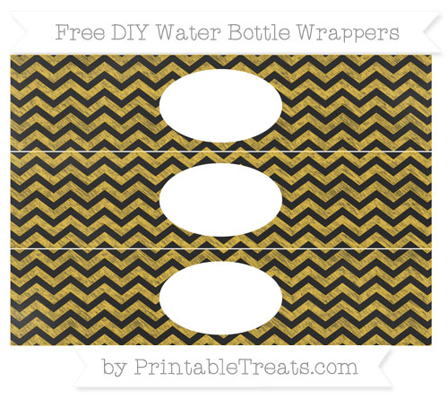 Free Saffron Yellow Chevron Chalk Style DIY Water Bottle Wrappers
