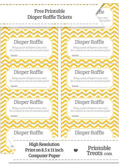 Free Saffron Yellow Chevron Diaper Raffle Tickets