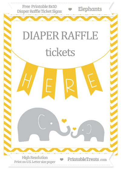 Free Saffron Yellow Chevron Elephant 8x10 Diaper Raffle Ticket Sign