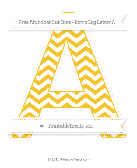 Free Saffron Yellow Chevron Extra Large Capital Letter A Cut Outs