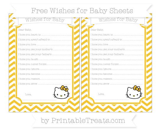 Free Saffron Yellow Chevron Hello Kitty Wishes for Baby Sheets