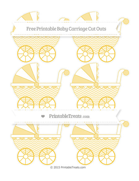 Free Saffron Yellow Chevron Small Baby Carriage Cut Outs