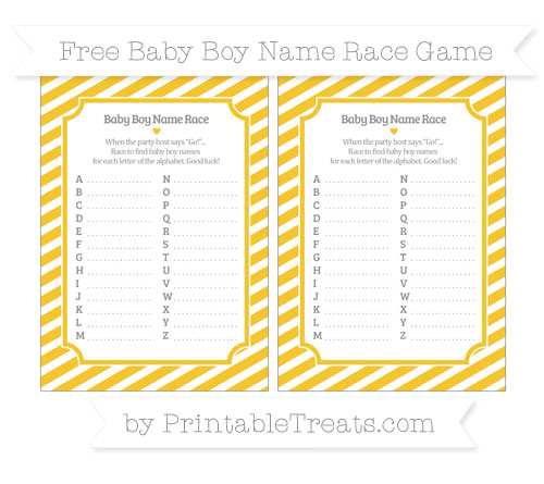 Free Saffron Yellow Diagonal Striped Baby Boy Name Race Game