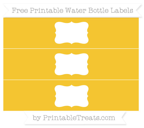 Free Saffron Yellow Water Bottle Labels