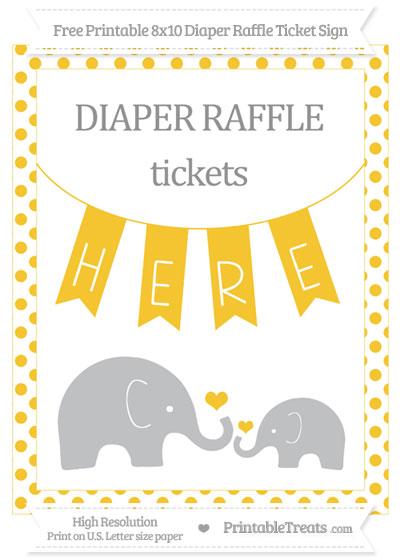 Free Saffron Yellow Dotted Elephant 8x10 Diaper Raffle Ticket Sign