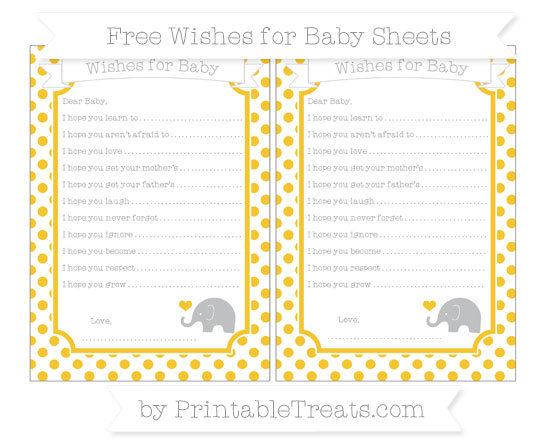 Free Saffron Yellow Dotted Pattern Baby Elephant Wishes for Baby Sheets