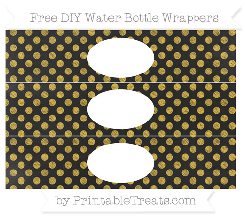 Free Saffron Yellow Dotted Pattern Chalk Style DIY Water Bottle Wrappers