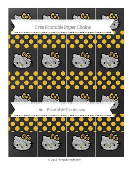 Free Saffron Yellow Dotted Pattern Chalk Style Hello Kitty Paper Chains