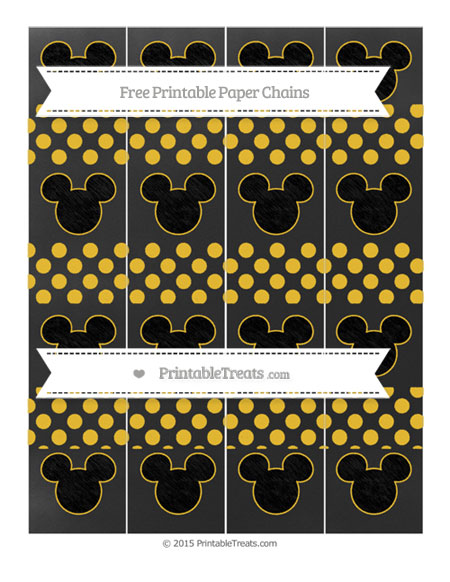 Free Saffron Yellow Dotted Pattern Chalk Style Mickey Mouse Paper Chains