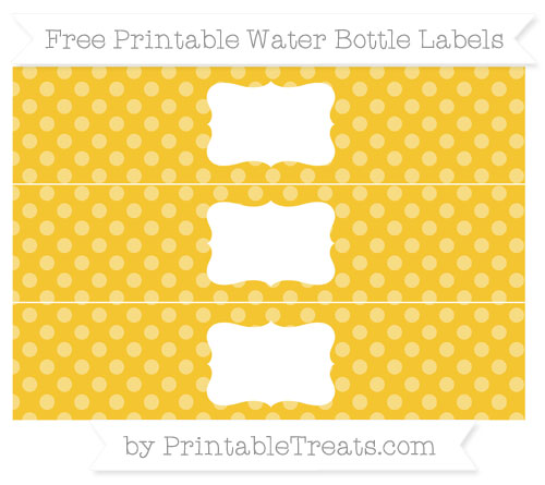 Free Saffron Yellow Dotted Pattern Water Bottle Labels