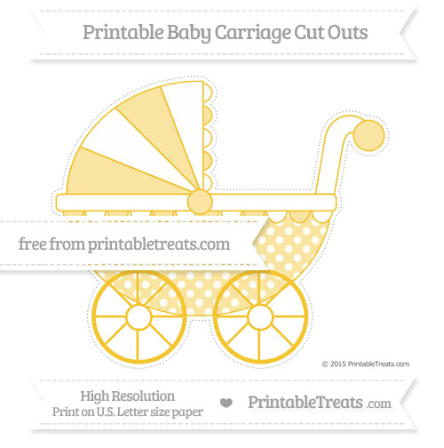 Free Saffron Yellow Dotted Pattern Extra Large Baby Carriage Cut Outs