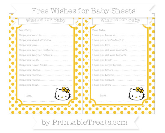 Free Saffron Yellow Dotted Pattern Hello Kitty Wishes for Baby Sheets