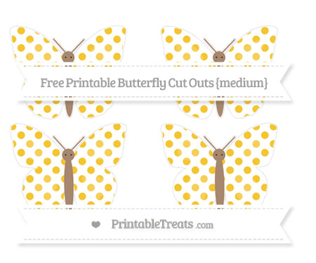Free Saffron Yellow Dotted Pattern Medium Butterfly Cut Outs