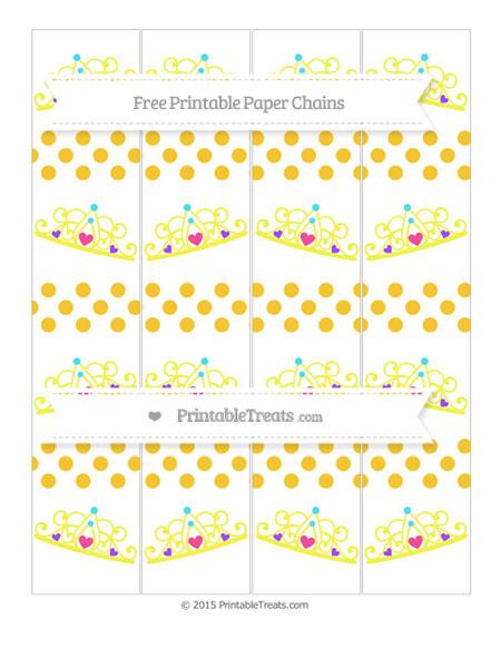 Free Saffron Yellow Dotted Pattern Princess Tiara Paper Chains