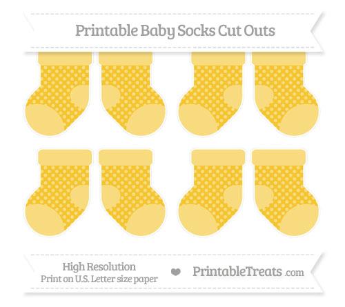 Free Saffron Yellow Dotted Pattern Small Baby Socks Cut Outs