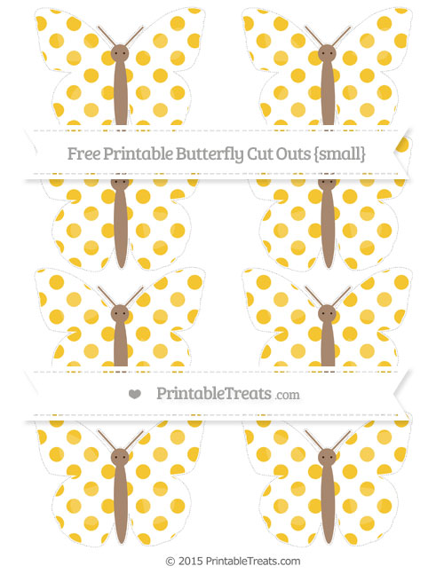 Free Saffron Yellow Dotted Pattern Small Butterfly Cut Outs