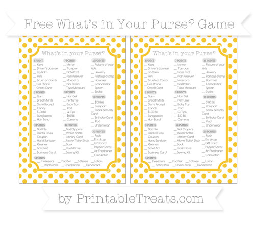 Free Saffron Yellow Dotted Pattern What's in Your Purse Baby Shower Game