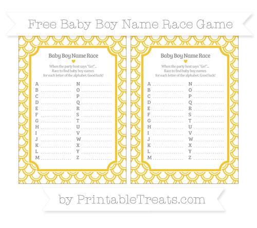 Free Saffron Yellow Fish Scale Pattern Baby Boy Name Race Game