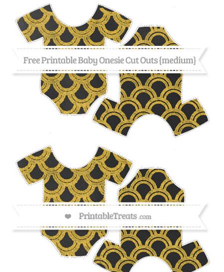 Free Saffron Yellow Fish Scale Pattern Chalk Style Medium Baby Onesie Cut Outs