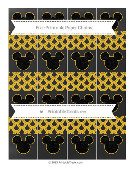 Free Saffron Yellow Fish Scale Pattern Chalk Style Mickey Mouse Paper Chains