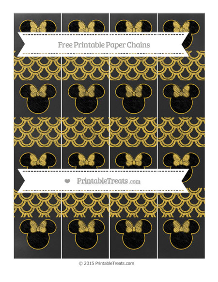 Free Saffron Yellow Fish Scale Pattern Chalk Style Minnie Mouse Paper Chains