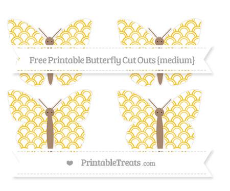 Free Saffron Yellow Fish Scale Pattern Medium Butterfly Cut Outs