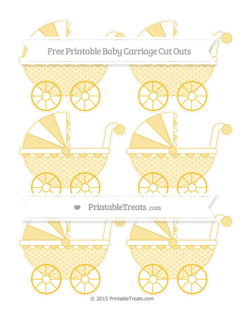 Free Saffron Yellow Fish Scale Pattern Small Baby Carriage Cut Outs