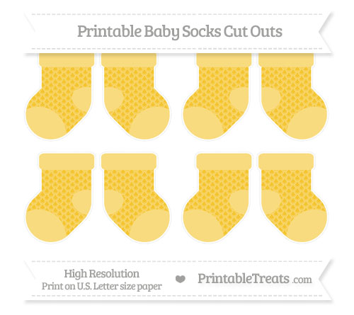 Free Saffron Yellow Fish Scale Pattern Small Baby Socks Cut Outs