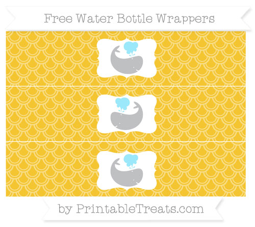 Free Saffron Yellow Fish Scale Pattern Whale Water Bottle Wrappers