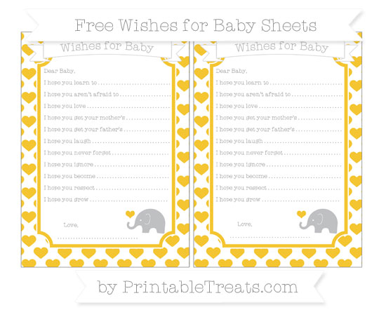 Free Saffron Yellow Heart Pattern Baby Elephant Wishes for Baby Sheets