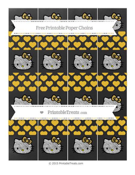 Free Saffron Yellow Heart Pattern Chalk Style Hello Kitty Paper Chains