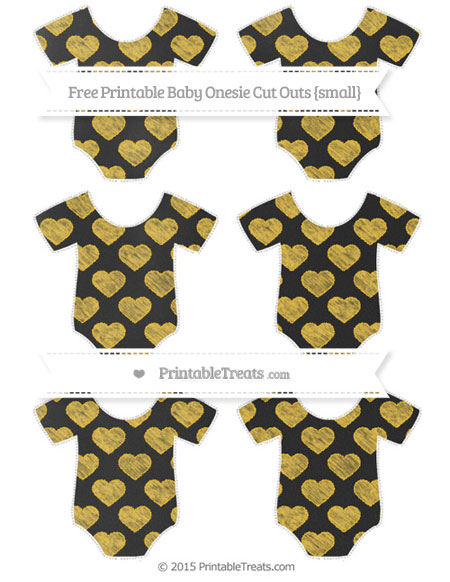 Free Saffron Yellow Heart Pattern Chalk Style Small Baby Onesie Cut Outs
