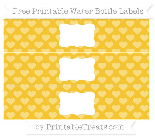 Free Saffron Yellow Heart Pattern Water Bottle Labels