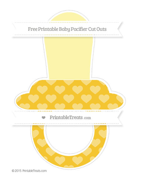 Free Saffron Yellow Heart Pattern Extra Large Baby Pacifier Cut Outs
