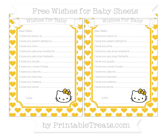 Free Saffron Yellow Heart Pattern Hello Kitty Wishes for Baby Sheets