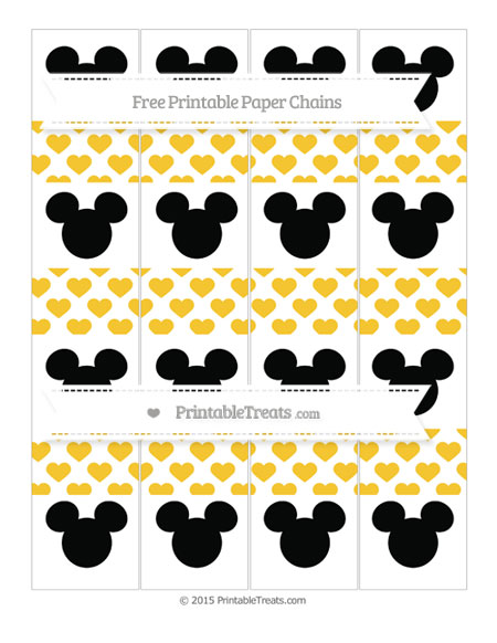 Free Saffron Yellow Heart Pattern Mickey Mouse Paper Chains