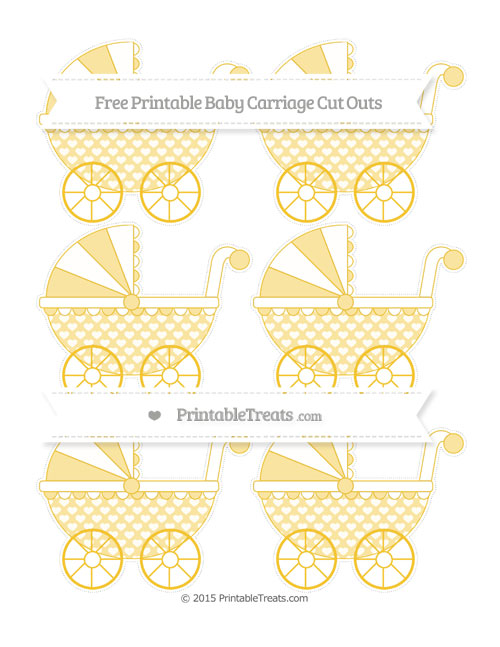 Free Saffron Yellow Heart Pattern Small Baby Carriage Cut Outs