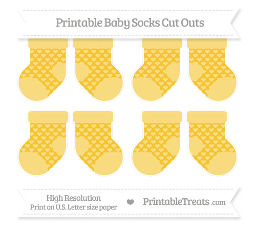 Free Saffron Yellow Heart Pattern Small Baby Socks Cut Outs