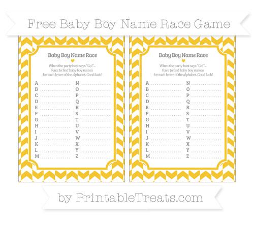 Free Saffron Yellow Herringbone Pattern Baby Boy Name Race Game