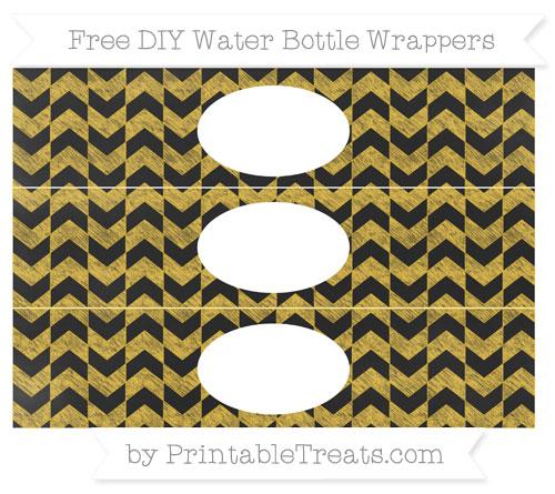 Free Saffron Yellow Herringbone Pattern Chalk Style DIY Water Bottle Wrappers