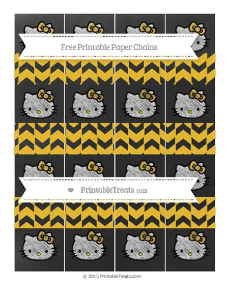 Free Saffron Yellow Herringbone Pattern Chalk Style Hello Kitty Paper Chains