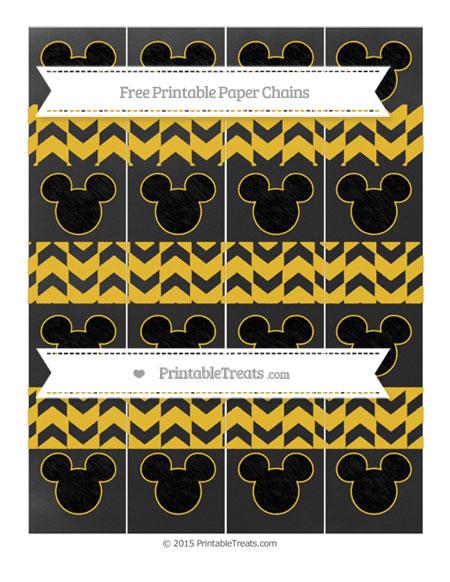 Free Saffron Yellow Herringbone Pattern Chalk Style Mickey Mouse Paper Chains