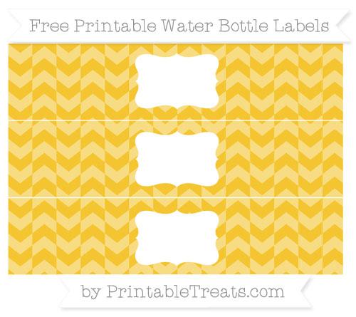 Free Saffron Yellow Herringbone Pattern Water Bottle Labels